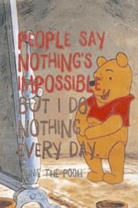 nalle puh,inget är omöjligt men jag gör det varje dag